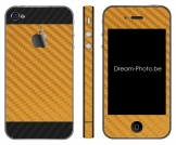 iPhone 4 Sticker Duo Goud-Zwart Carbon
