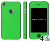 iPhone 4s Sticker Apple Groen Carbon