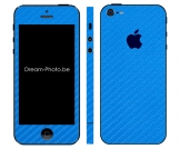 iPhone 5 Sticker Metallic Blauw Carbon