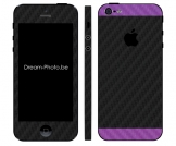 iphone 5 Sticker Duo Zwart-Purple Carbon